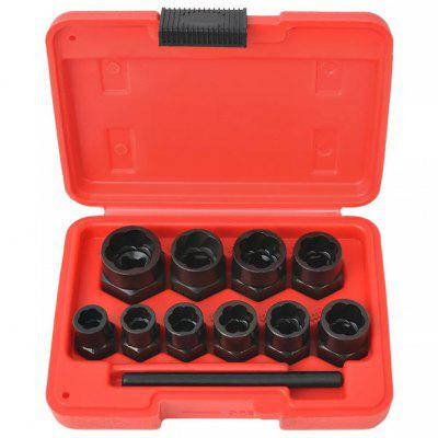 11 Piece Bolt Extractor Set for Damaged Bolts and Nuts Steel