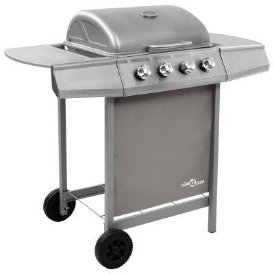 Gas BBQ Grill with 4 Burners Silver   Gas BBQ Grill with 4 Burners Silver