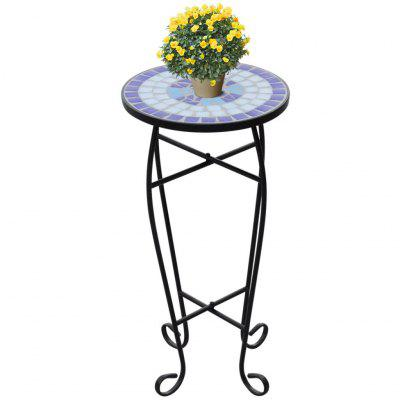Mosaic Side Table Plant Blue White