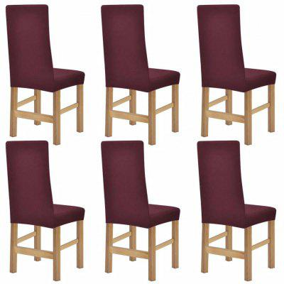 Stretch Chair Covers 6 pcs Brown Polyester Rib Fabric