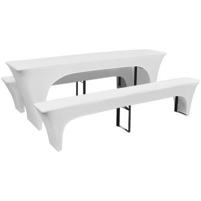 3 Slipcovers for Beer Table and Benches Stretch White 220 x 70 80 cm