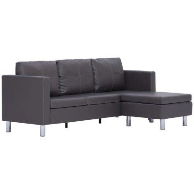 Sectional Sofa 3Seater Artificial Leather Black