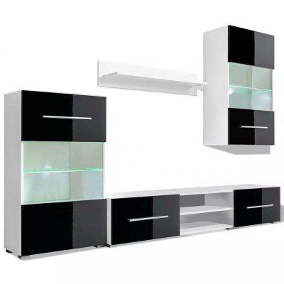 Five Piece Wall Display Cabinet TV Unit with LED Lighting