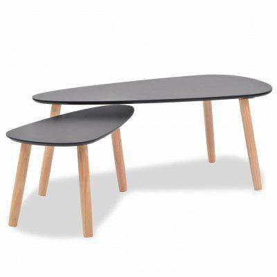 Coffee Table Set 2 Pieces Solid Pinewood Black