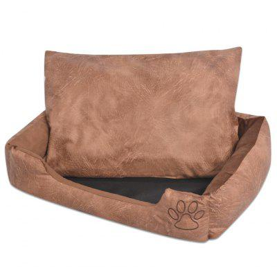 Dog Bed with Cushion Artificial Leather PU