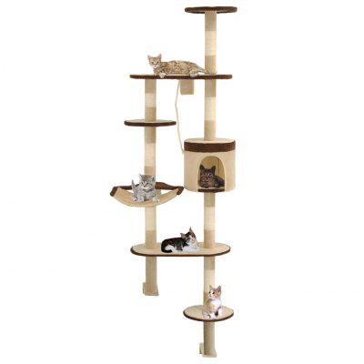 Cat Tree with Sisal Scratching Posts Wall Mount 194 cm