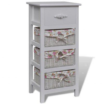 Wardrobe with 1 Drawer and 3 Baskets White Paulownia Wood