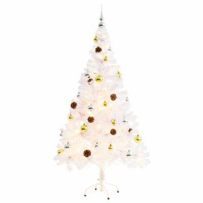 Faux Christmas Tree Decorated with Baubles and LEDs 150cm White