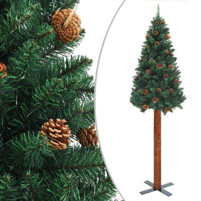 Slim Christmas Tree with Real Wood and Green