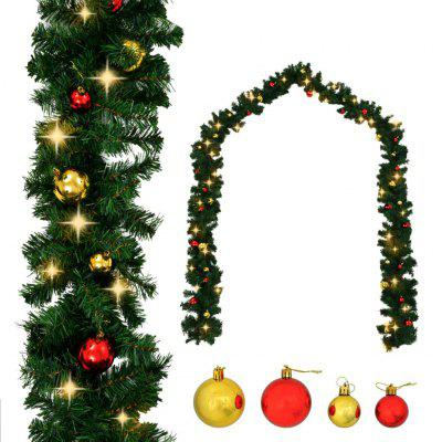 Christmas Garland Decorated with Baubles and LED Lights 5 m