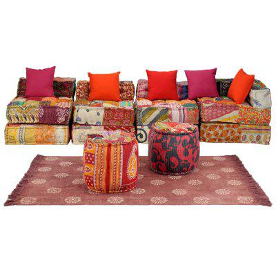 Modular Sofa Set 16 Pieces Fabric Patchwork