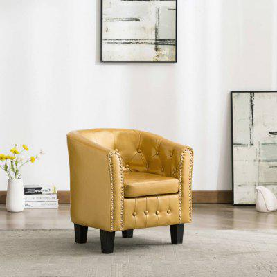 Tub Chair Shiny Gold Faux Leather