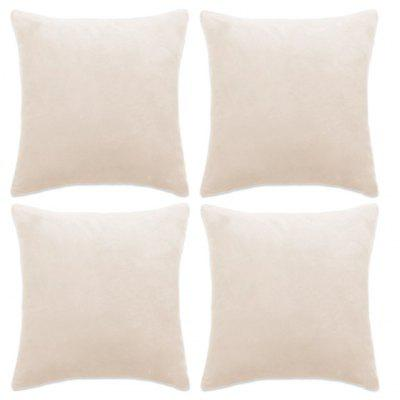 Cushion Covers 4 pcs Velour 80x80 cm Off White