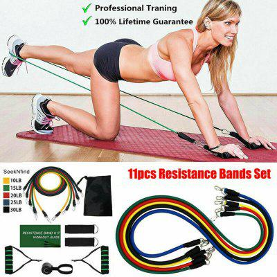11PC/Set Resistance Bands Yoga Pilates Latex Exercise Fitness Tube Workout Band