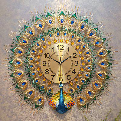 Metal Creative Big Wall Clock Modern Design Luxury Peacock 3d Living Room Farmhouse Home Decoration