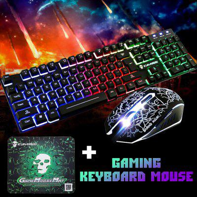T6 Rainbow Backlit USB Ergonomic Gaming Keyboard PC Game Console Mouse Computer Mechanical and Set with Backlight