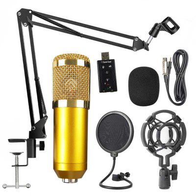 BM800 Professional Condenser Microphone Microphone Audio with Shock Mount Microphone Bracket Sound Computer Recording Set bm 800 professional 3 5mm wired condenser sound recording microphone with metal shock mount for radio braodcasting computer