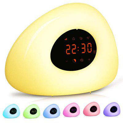 OGIRL Led Smart Wake-up Light Alarm Clock Colorful Atmosphere Touch Night Sunrise Sunset Hypnosis