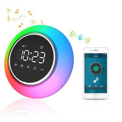 OGIRL White LED Speaker Mini Bluetooth Portable with Color Changing RGB Night Light Digital Display Alarm Clock