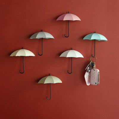 18 Pics Home Decoration Sticker Hook Novelty and Fun Plastic Umbrella Adhesive Keychain Wall