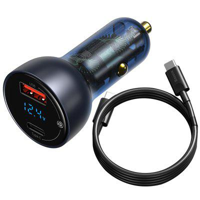 Baseus Cool Display Metal Digital Dual QC+PPS Fast Charging Car Charger C+U 65W Light Silver Dark Space Gray