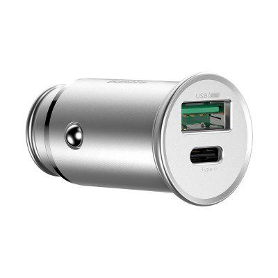 Baseus Round Metal PPS Smart Fast Charge Car Charger 30W VOOC Version Black