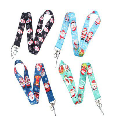4pcs Merry Christmas Santa Claus Universal Key Chain / Phone Strap Lanyard