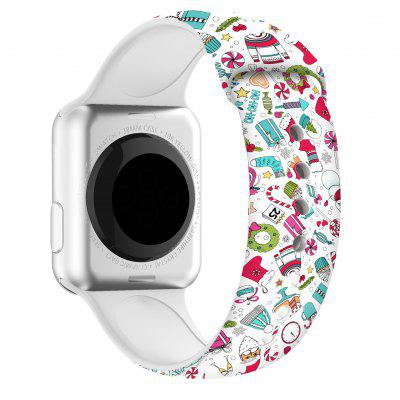 Silicone Band Bracelet For Apple Watch 44mm 40mm 38mm 42mm Christmas Cartoon Printed For IWatch Series 6/5/4/3/2/1 Watch Strap stainless steel strap for apple watch band rhinestone diamond band 38mm 42mm series 3 2 1 for apple watch 40mm 44mm series 4 5