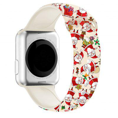 Silicone Band Bracelet For Apple Watch 44mm 40mm 38mm 42mm Christmas Cartoon Printed IWatch Series 6/5/4/3/2/1 Strap