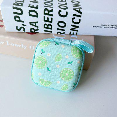 Mini Hard Headphone Case PU Leather Earphone Storage Bag Protective Case USB Cable Earbuds Pouch Box Earphone Accessories 7.5X7.5CM