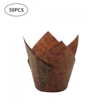 50pcs Newspaper Style Cupcake Liner Baking Cup For Wedding Party Caissettes Tulip Muffin Paper Oilproof Cake Wrapper