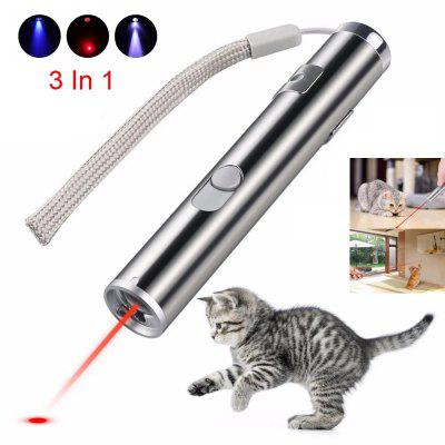 USB Rechargeable Pet Toy 3 In 1 Funny Cat Chaser Stick Mini Flashlight Red LED Laser Pointer Pen Supplies