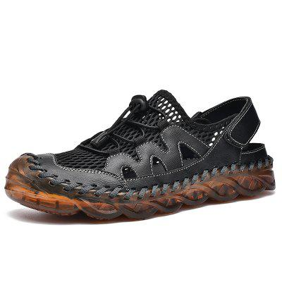 Summer Mesh Men Sandals Breathable Genuine Leather Casual Shoes Handmade Outdoor Mens Slippers Beach Plus Size 38-46