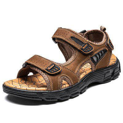 Summer Mens Sandals Outdoor Non-slip Beach Handmade Leather Fashion Soft Wading Shoes Gladiator