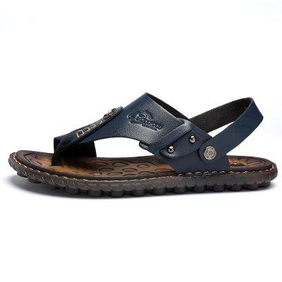 Men Summer Shoes Genuine Leather Mens Sandals 2019 Outdoor Beach Leisure Slippers Flip Flops Roman Big Size 47 46