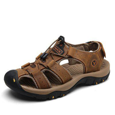 MIXIDELAI Genuine Leather Men Shoes Summer New Large Size Mens Sandals Fashion Slippers Big 38-47