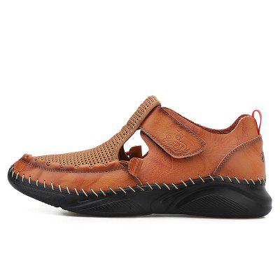 Summer Mens Beach Sandals Velcro Genuine Leather Mesh Outdoor Beach Slippers for Men Male Sport Sneakers Walking Casual Shoes