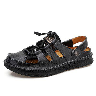 Fashion Mesh Leather Mens Casual Shoes Summer Men Outdoor Sport Sneakers Male Training Driving Office Dress Beach Sandals