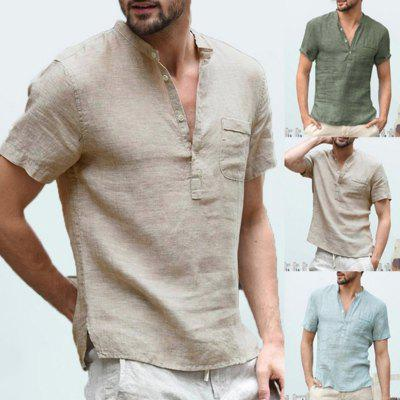 2020 New Mens Spring Summer Casual Shirt Short Sleeve Cotton Linen Shirts Men Loose Collar Button silk Chemise Homme