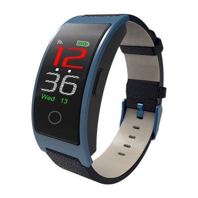 CK11C Real Time Temperature Color Screen Blood Pressure Heart Rate Oxygen Leather Watch With Bluetooth Waterproof Smart Bracelet