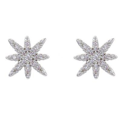 Women Jewelry 925 Silver Needle Copper Earrings Plated Real Gold Six Pointed Star / for Daily Ceremony