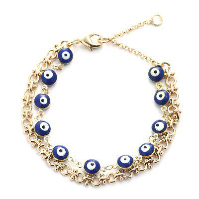 Women Jewelry Copper+Enamel Fashion Bracelet Devil Eye Folding Metal Chain Ornament Gold for Daily Ceremony