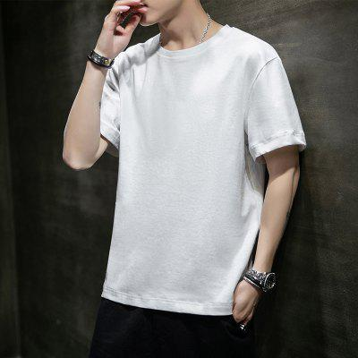 Mens Round Collar T-shirt Is Pure Cotton Loose Comfortable And Breathable