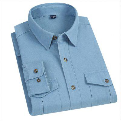 Mens Long Sleeve Shirt Workwear 100% Cotton