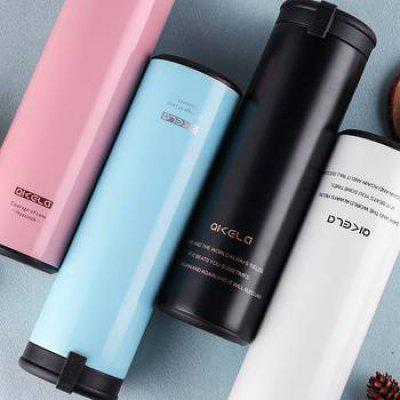 Seven Carat Stainless Steel Thermos Cup Male Straight Portable Hand Version Fashion Student Cup.