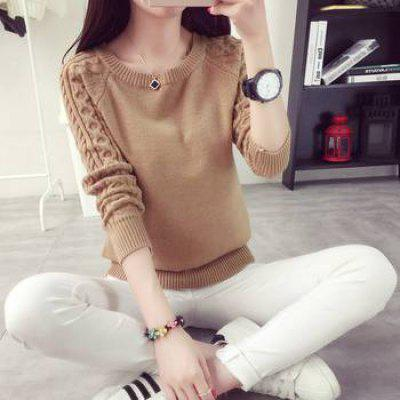 Thick Knitted Shirt Girls Pullover Sweater Long Sleeve O-Neck Clothing
