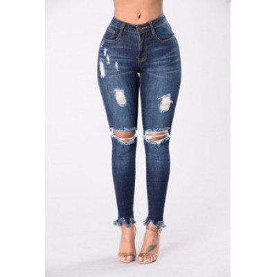 Knee Ripped Skinny High Waisted Stretch Slim Pants Jeans Forever Sunrise