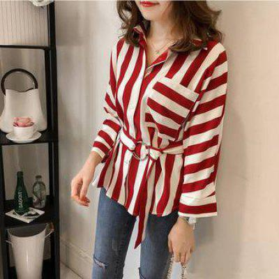 Fat Mm Large Loose Stripes Long Sleeves Shirt