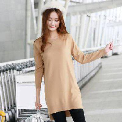 Long Wool Knitted Sweater Femme Round Neck Warm Khaki Loose Pullovers Solid