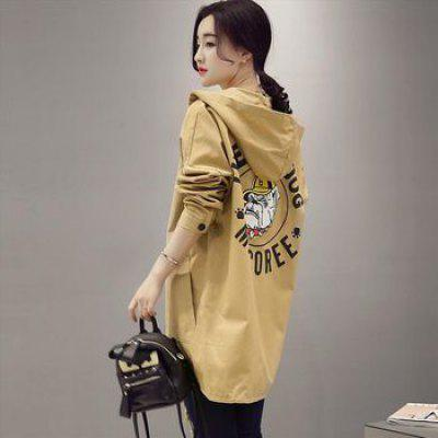 The Long Printing Casual Hooded Jacket Thin Coat Loose